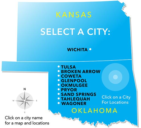 Oklahoma & Kansas map