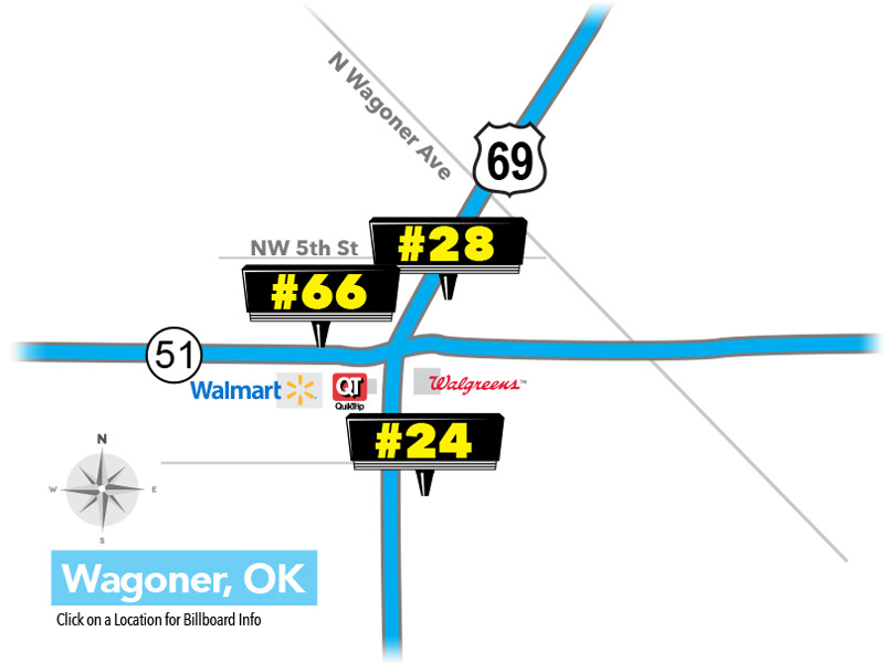 Premium Billboard Locations in Wagoner, Oklahoma